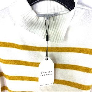 ENGLISH FACTORY Striped Sweater Split Turtleneck